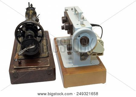 Professional Sewing Machines, Mechanical And Electrical. Rear View. Isolated On White Background, Wi