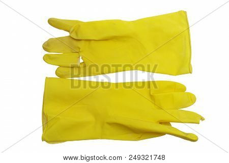Yellow Rubber Gloves For Dishwashing And Sanitary Home Cleaning. Hand Protecting At Work With Causti