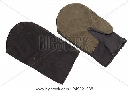 Pair Of Cotton Mittens With Thumb. Protection Of Hands Against Accidental Damage During Heavy Grip W
