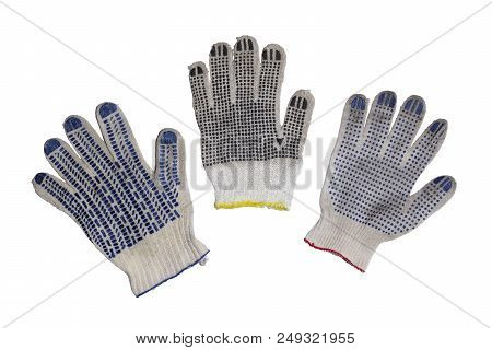 Protective Gloves For Maual Labor, With Different Forms Of Rubber Dots On Working Side And Multicolo