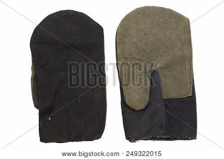 Workers Mittens Of Linen And Cotton. Gloves For Riggers With Separate Outlet For Thumb. With Clippin