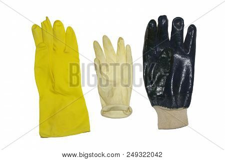 Protective Gloves For Household, Gardening And Cleaning. Set Of Isolation For Hands When Work With C