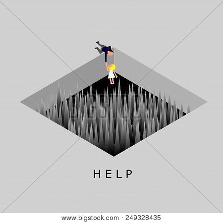 Businessman Helping The Worker,man Tries To Pull A Woman Out Of Spike Trap Hole,help Concept,vector