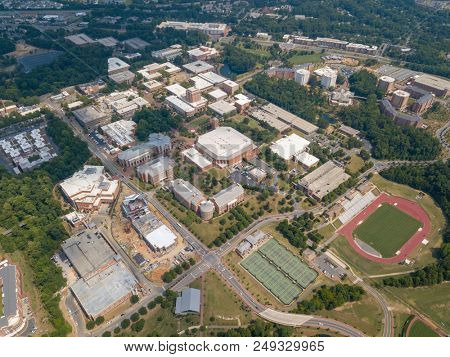 July 12, 2018 - Charlotte, North Carolina, USA: Aerial views of the University of North Carolina at Charlotte.  Established in 1946, UNCC is a growing campus with over 29,000 students.
