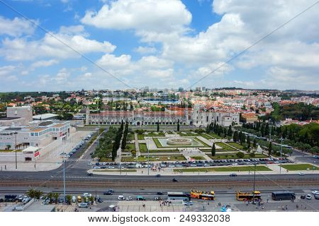Lisbon, Portugal - May 27, 2018: Mosteiro dos Jeronimos in downtown Lisbon, Portugal
