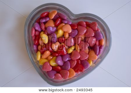 Candy Hearts In Glass Heart