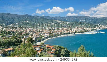 View To Diano Marina At Italian Riviera Near San Remo In Liguria,italy