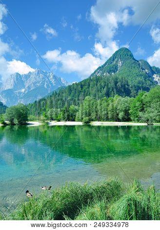 Idyllic Landscape At Lake Jasna In Triglav National Park Near Kranjska Gora,slovenia
