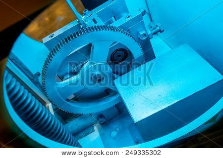 Metal Gears In Blue Light For Kid Activity And Learning On Mechanical Engineering Basic.