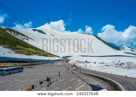 Toyama, Japan - June 9 : View Of Outside For Landscape Snow Wlall From Murodo Station In Toyama, Jap
