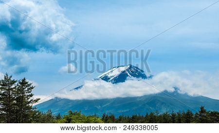 Fresh Green Forest And Beautiful View Mt.fuji With Snow, Blue Sky In Summer At Yamanashi, Japan.