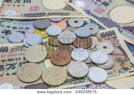 Japanese yen banknotes and Japanese yen coin concept background poster