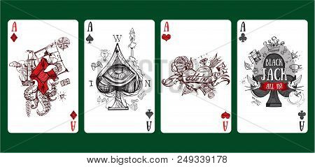 Sketch Of Playing Cards Four Aces. Vector Illustration