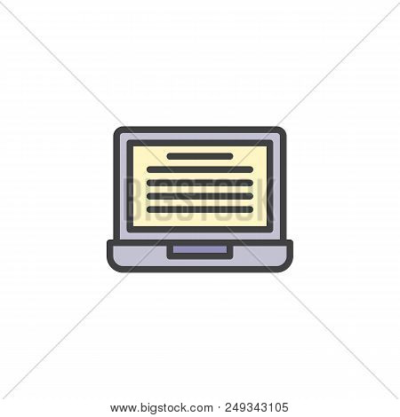 Online Reading Filled Outline Icon, Line Vector Sign, Linear Colorful Pictogram Isolated On White. L