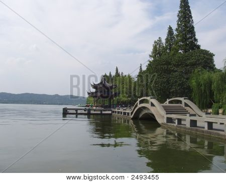 This is a scenery of the lake (xihu) in China poster