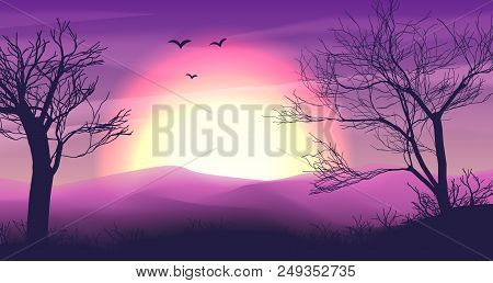 Safari Cartoon Background, Desert Savanna Panorama And Landscape With Trees, Hills And Moon. Safary
