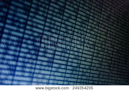 Blocks Of Binary Data. Blockchain Concept. Blue Background With Computer Digital Binary Code Bit Num