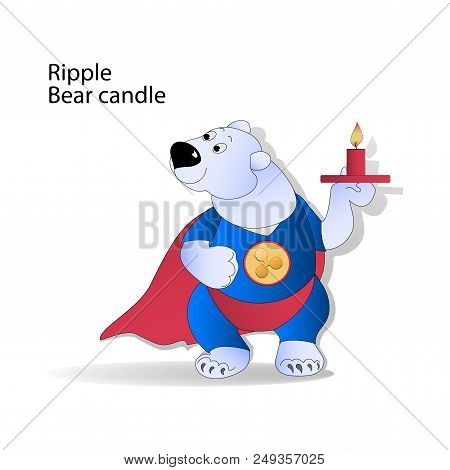 Ripple. Bear Trader And Bear Candle. Cryptography, Illustration Of Financial Technologies, Strategy