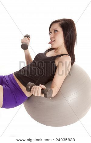 Woman Ball Weights Tongue Out