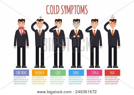 Cold, Grippe, Flu Or Seasonal Influenza Common Symptoms Infographic. Vector Illustration.