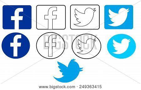 SRAGEN, INDONESIA - AUGUST 31, 2017: Facebook & Twitter Logo Illustration