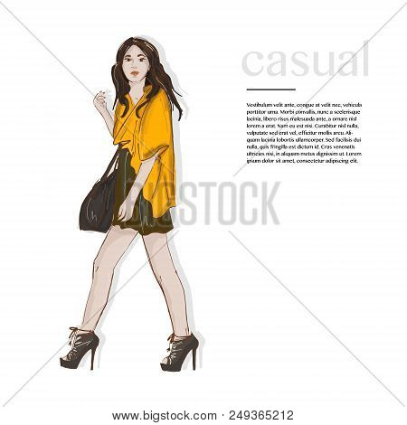 Fasion Style Outfit. Woman In Yellow Jacket, Dress On The High Heels And Bag. Runaway Magazine Casua