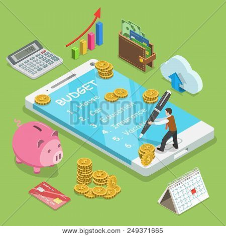 Online Family Budget Flat Isometric Vector Concept. Man Is Planning The Family Budget And Write Down