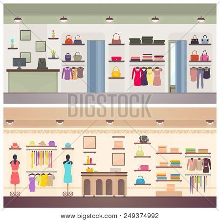 Two Designs Of Lady Clothing Shops Vector Banner, Illustration With Dresses Stylish Handbags Female