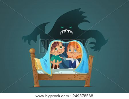 Pair Of Scared Children Sitting On Bed And Hiding From Frightening Ghost Under Blanket. Fearful Kids