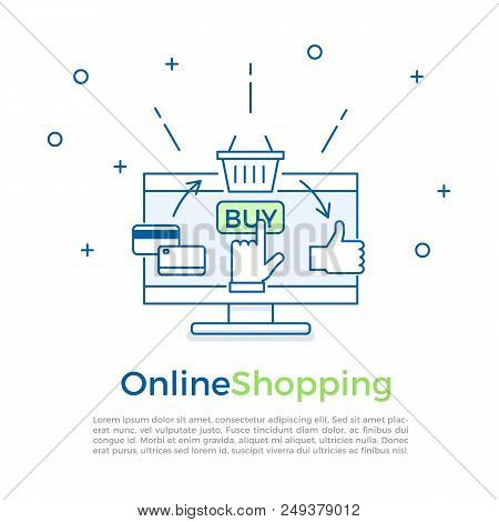Ecommerce Background Banner. Online Shopping Process. Vector Banner Illustration For Online Marketin