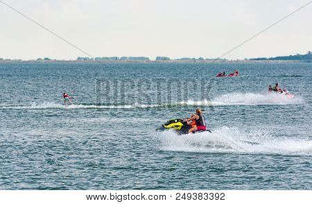 Summer Water Sports On Zemplinska Sirava Lake, Slovakia. Lovely Place For Vacation Or Weekend In Sum