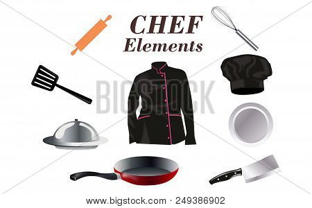 Flat Design Concept Icons Of Kitchen Utensils With A Chef. Cooking Tools And Kitchenware Equipment,