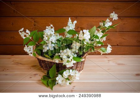 Basket With Jasmine Flowers On Wooden Table