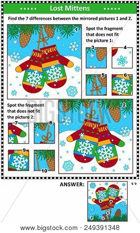 New Year Or Christmas Visual Puzzles With Pair Of Knitted Mittens. Find The Differences Between The