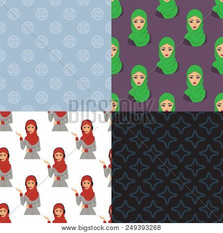Arabic Woman Character Arabian Asia Nationality Islamic Girl Seamless Pattern Background Vector Illu