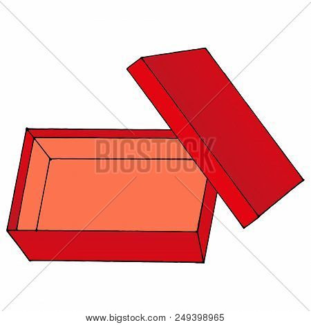 Red Gift Box. Cardboard Box. Vector Illustration Of An Open Box. Hand Drawn Open Box.