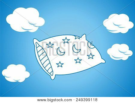 Dream Cushions Float In The Clouds Background Illustration