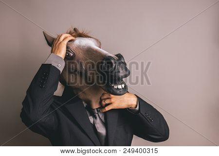 Unidentified Person With A Dark Grey Suit And Tie Wearing A Horse Mask With One Hand On The Head
