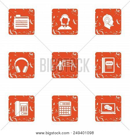 Seminar Icons Set. Grunge Set Of 9 Seminar Vector Icons For Web Isolated On White Background
