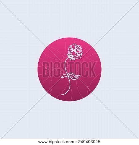 One Line Floristics Logo. Minimalistic Illustartion. Rose Or Other Flower Icon On Pink Background
