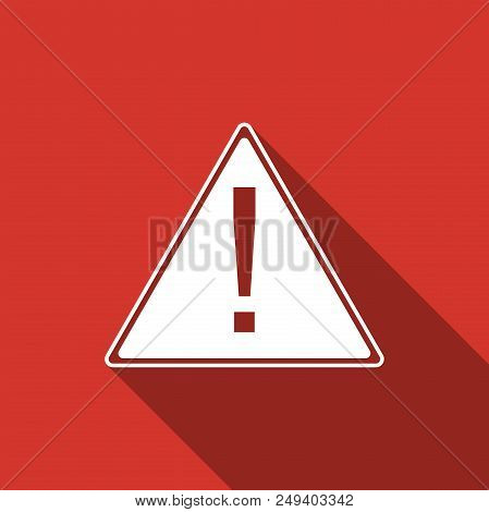 Exclamation Mark In Triangle Icon Isolated With Long Shadow. Hazard Warning Sign, Careful, Attention