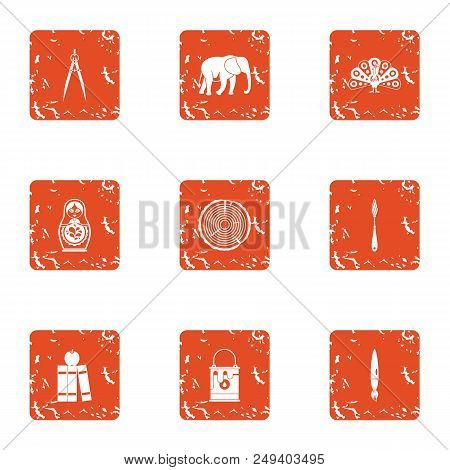 Untamed Icons Set. Grunge Set Of 9 Untamed Vector Icons For Web Isolated On White Background