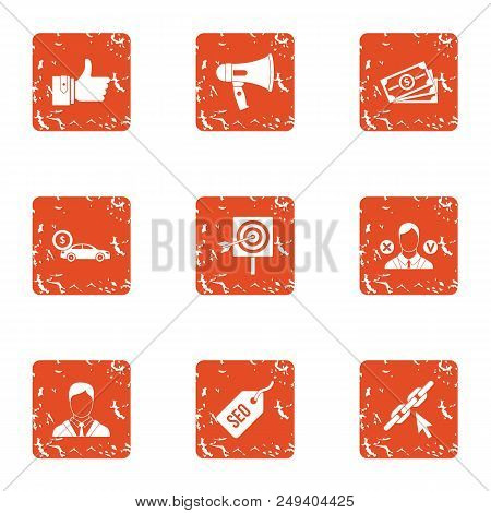 Expensive Deal Icons Set. Grunge Set Of 9 Expensive Deal Vector Icons For Web Isolated On White Back