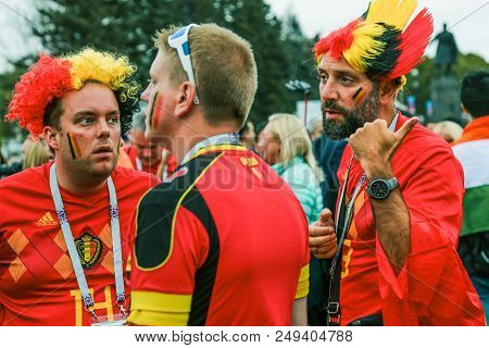 St. Petersburg, Russia - July 10, 2018: Disappointed Fans After Defeat Of Belgium National Football