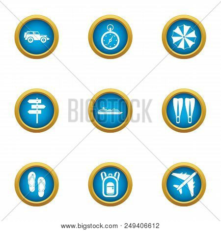 Tropical Flight Icons Set. Flat Set Of 9 Tropical Flight Vector Icons For Web Isolated On White Back
