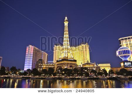 LAS VEGAS, NEVADA - OCTOBER 21:  Paris, Ballys and other resorts are located on the strip. Vegas has 147,611 hotel rooms with a average daily rate of $106 on October 21, 2011 in Las Vegas, Nevada.