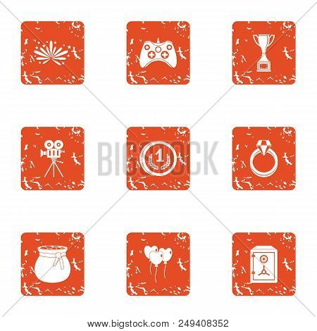 Interactive Game Icons Set. Grunge Set Of 9 Interactive Game Vector Icons For Web Isolated On White