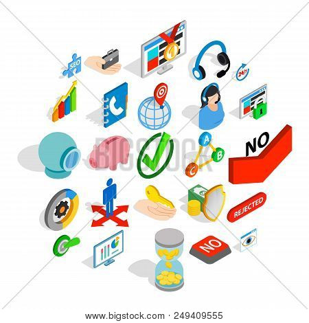 Business Pay Icons Set. Isometric Set Of 25 Business Pay Vector Icons For Web Isolated On White Back