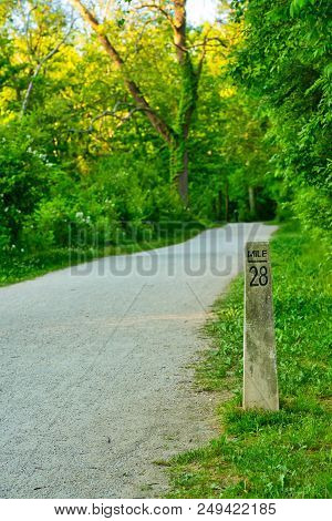 A Mile Marker On The Towpath Trail Of The Ohio And Erie Canal In Cuyahoga Valley National Park Near