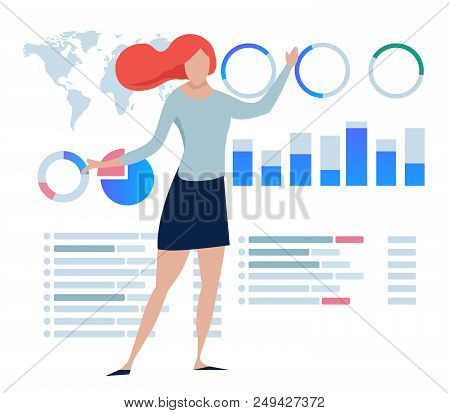 Business Women Explain Present Statistics Chart Dashboard Data Info-graphic Large Screen. Vector
